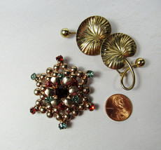 2 PC Lot Vintage Pink Rose Yellow Sterling Silver Water Lily Star Brooch Pins - $39.60