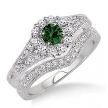 1.5 Carat Emerald & Sim Diamond Antique Floral Bridal set 14k White Gold Fn  - $99.99