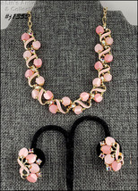 Vintage Pink Thermoset Necklace and Earrings (#J1355) - $38.00