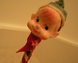 "Christmas Pixie - Pixie Head with Bell 12 "" Long Striped Pencil Vtg 60s Pixie"