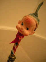 """Christmas Pixie - Pixie Head with Bell 12 """" Long Striped Pencil Vtg 60s ... - $7.91"""