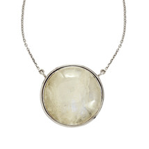 Round Cab Rainbow Moonstone 925 Sterling Silver Women Jewelry Gift Necklace - $79.82