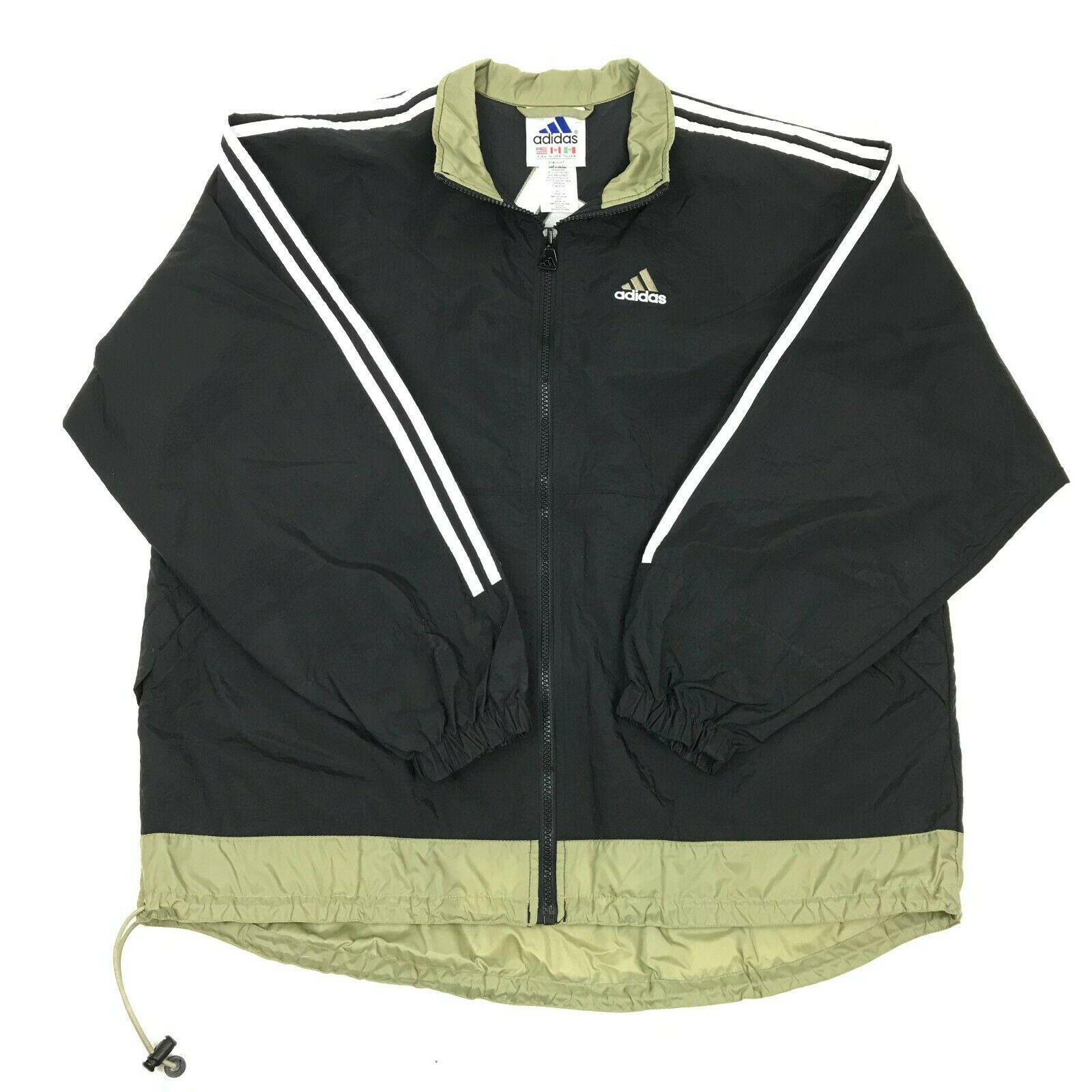 Vtg 90s ADIDAS Black Full Zip WINDBREAKER Nylon Swishy 3 stripe Jacket L Flag Tg - $29.70