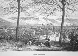 UTAH View of Salt Lake City - 1883 German Print - $16.20