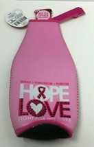 Novelty Breast Cancer Awareness Pink Neoprene Bottle Insulator+Bottle Op... - $11.39
