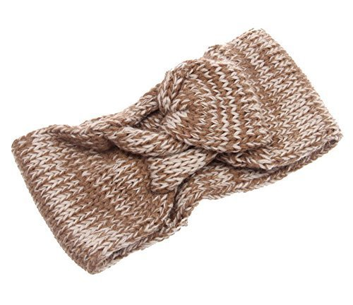 Fashion Knitted Headband Crochet Bow Hair Wrap, Khaki