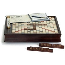 Scrabble Deluxe Wooden Edition with Rotating Game Board, Raised Grid Bro... - $179.68