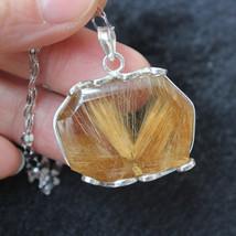 Gold Rutilated Natural Quartz Crystal Silver Pendant Healing 15g F031208 - $168.25