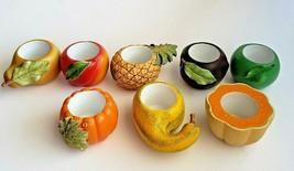 Fruit Candle Holders Summer Autumn Squash Apple Pineapple Pear Plum 8 Pa... - $32.62
