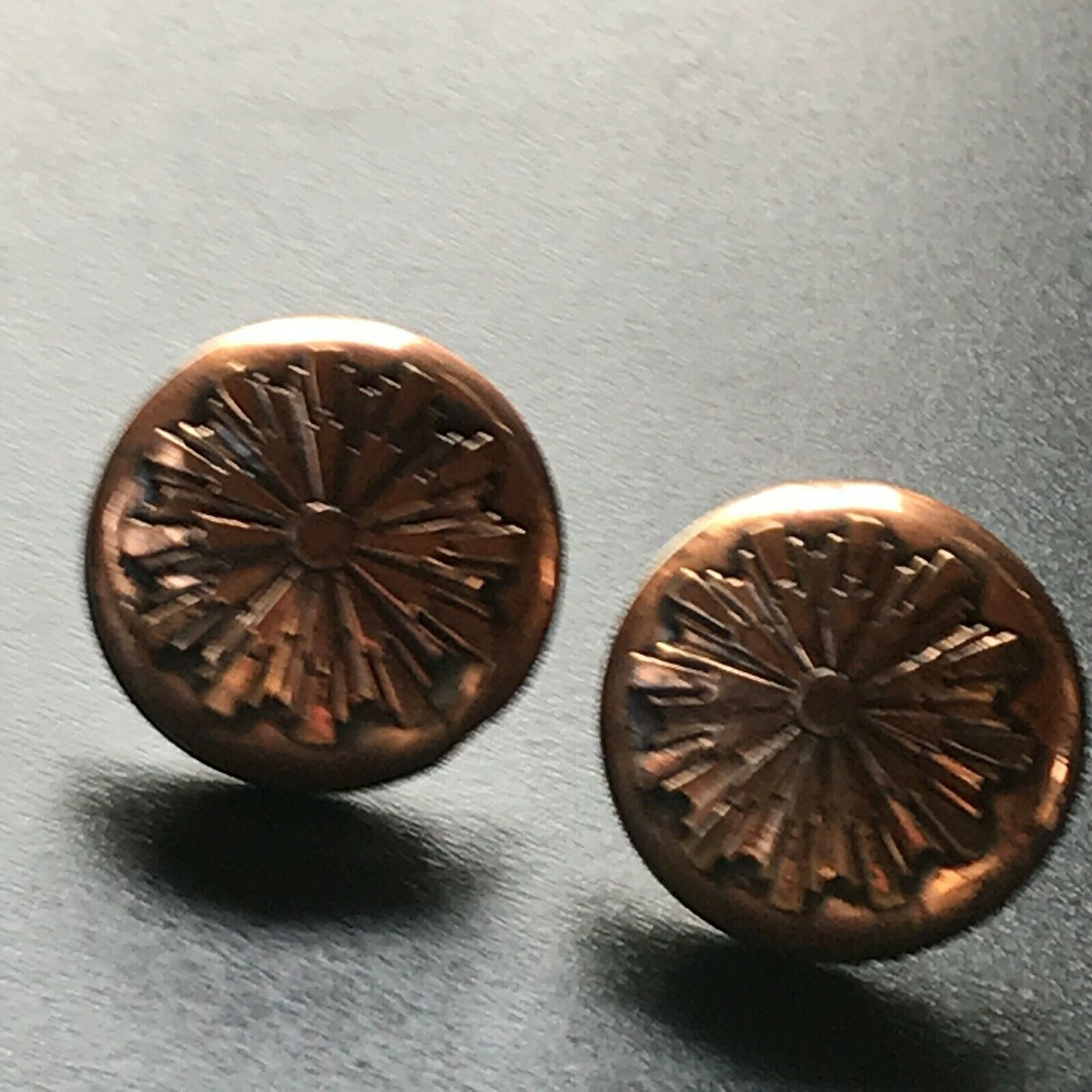 Primary image for Vintage Large Solid Copper Hollow Round w Starburst Overlay Screwback Earrings –