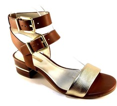 BCBGeneration Roger Gold/Caramel Leather Strappy Thick Heel Sandals Size... - $69.00