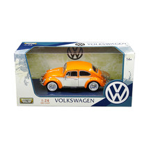 1966 Volkswagen Classic Beetle with Rear Luggage Rack Orange 1/24 Diecas... - $31.73