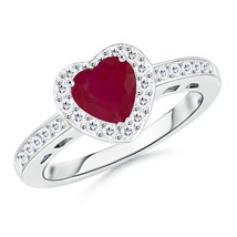 1tcw Heart-Shaped Natural Ruby Diamond Halo Ring Gold/Platinum - $1,004.60+