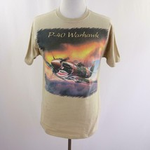 Diamond Star P-40 Warhawk Plane Tan Graphic T Shirt Mens Sz M - $27.96