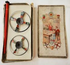 antique victorian SPINNING DISC TOP w BOX Blitzkreisel Toupies Eclair Br... - $245.00