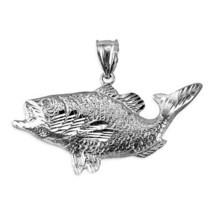 White Gold DC Textured Sea Bass Fish Pendant - $199.99
