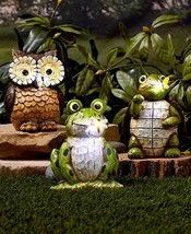 Solar Carved Wood-Look Garden Statues - Choose Owl, Frog or Turtle - $28.97