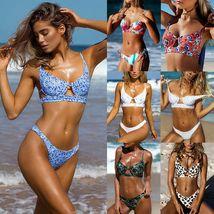 Women's Bikini Set Pushup Padded Floral Swimsuit Bandage Beach Swimwear Summer image 2