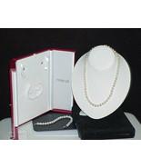 "Macy's 14k  Pearl Necklace Bracelet set 18"" Fresh water W/Presentation C... - $148.49"