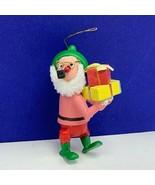 Christmas ornament W Germany wood nutcracker Santa Claus corn cob pipe g... - $19.60