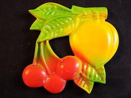 Vntg Plastic Celluloid Wall Decor Fruit Cluster Cherries Peach Green Yel... - $12.86