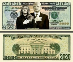Pack of 25 - Trump 2020 Presidential Re-Election Dollar Bills First Couple - $9.89