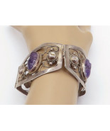 MEXICO 925 Sterling Silver - Vintage Face Carved Amethyst Chain Bracelet... - $270.96