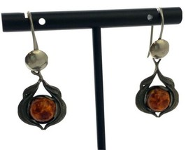 Vintage Sterling Silver and Amber Stone Dangle Earrings - $37.99