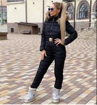 European Women's Fashion One Piece Black Fur Lined Hooded Ski Suit Snowsuit image 6