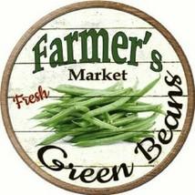 """FARMERS MARKET GREEN BEANS 12"""" ROUND LIGHTWEIGHT METAL WALL SIGN DECOR R... - $13.49"""