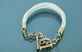 Authentic CHRISTIAN DIOR White Leather Bracelet with D Logo Charm Accessories - $187.11