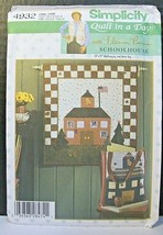 Simplicity Pattern 4932 Quilt in a Day Wallhanging Book Bag School House Bell - $9.41
