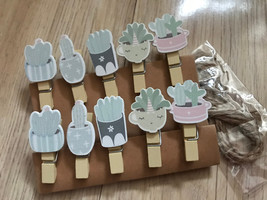 60pcs paper wood clips,Photo Pegs,Clothespins,Special Gifts for Party De... - $11.50