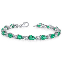 Sterling Silver Emerald and Cubic Zirconia Tennis Bracelet - £223.32 GBP