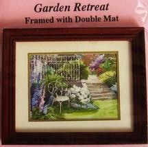 DOLLHOUSE Framed Picture Garden Retreat dbl mat Jacqueline's 9188 MINIATURE - $6.13