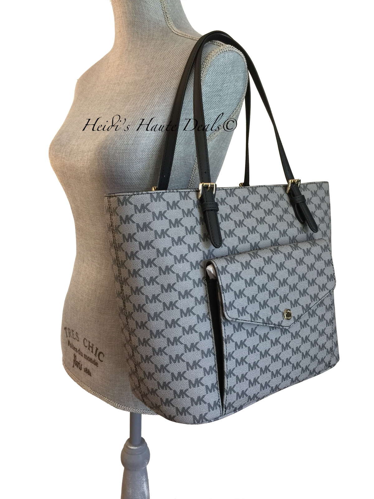 3ace64a417ea NWT MICHAEL KORS Jet Set Large Pocket Tote Black Gray Logo Multi Function  Bag