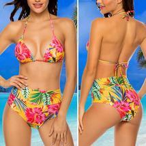 Women High Waist Swimwear Bikini Set Push-up Padded Bra Bathing Suit Swimsuit image 14
