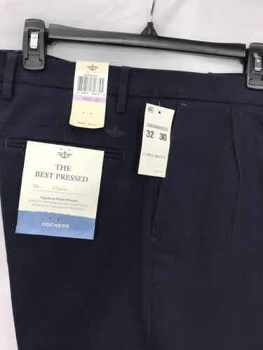 0ccc73f2 12. 12. Previous. NWT Dockers Mens Blue Classic Fit Signature Khaki-Pleated  Stretch Pants ...