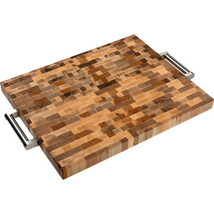 Labell – Wood Cutting Board with Stainless Steel Handles 20 in x 16 in x... - $147.24