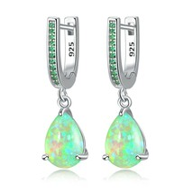 CiNily Water Drop Opal Dangle Earrings Silver Plated Mystery Stone Jewel... - $21.27
