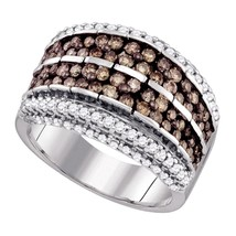 10k White Gold Round Brown Color Enhanced Diamond Band Fashion Ring 1-5/8 - $1,246.60