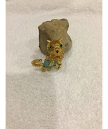Vintage Cat Brooch Pin Wired Faux Turquoise Belly Rhinestones RARE Figur... - $25.00