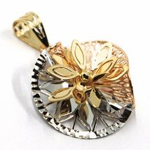 18K YELLOW WHITE ROSE GOLD FLOWER, ONDULATE, FINELY WORKED PETALS 2.2cm PENDANT image 3