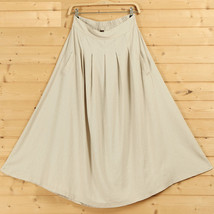 Women A Line Pleated Linen Skirts Linen Boho Skirt, Burgundy Beige Blue,One Size image 6