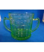 Hazel Atlas Glass green vaseline glass block pattern sugar bowl. - $10.00