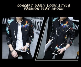 2018 Spring and Autumn New Fashion Men's Slim Fit Black Jacket Men's Printing Br image 9