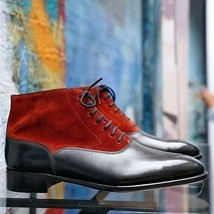 Red Black Suede Leather Men Handmade High Ankle Premium Chukka Rounded Toe Boots image 2