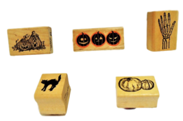 HALLOWEEN STAMPS! Set of 5 Halloween Wood Mounted Rubber Stamps