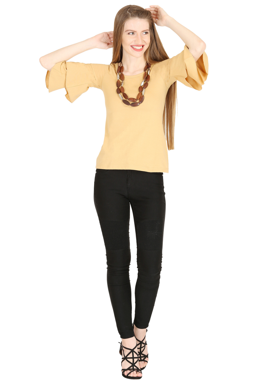 Tops for Women Beige Cotton Ruffle Bell Sleeves tops Chistmas gifts for her image 2