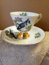 Enesco Porcelain Tea Cup and Saucer Set Blue Jay Song Bird Made In Japan - $19.80